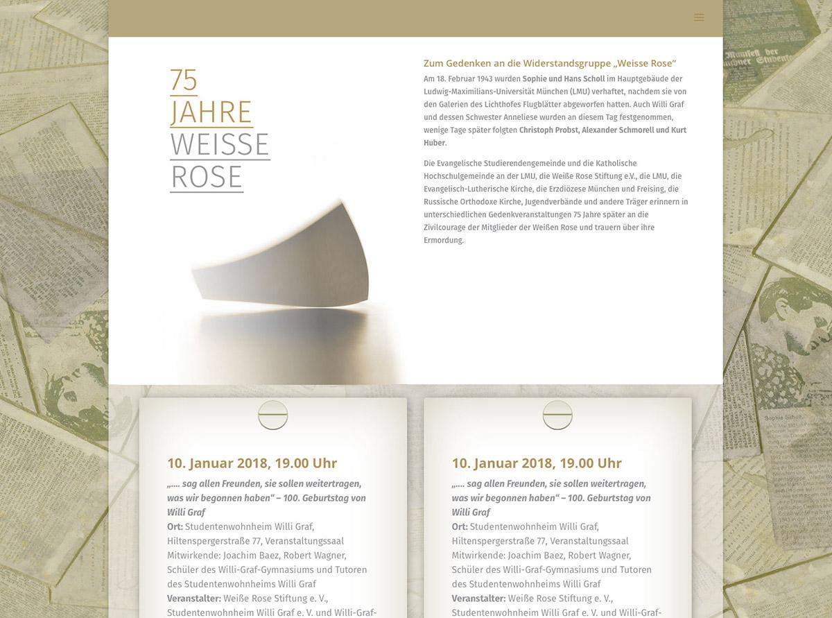 Referenz Website - 75 Jahre Weiße Rose