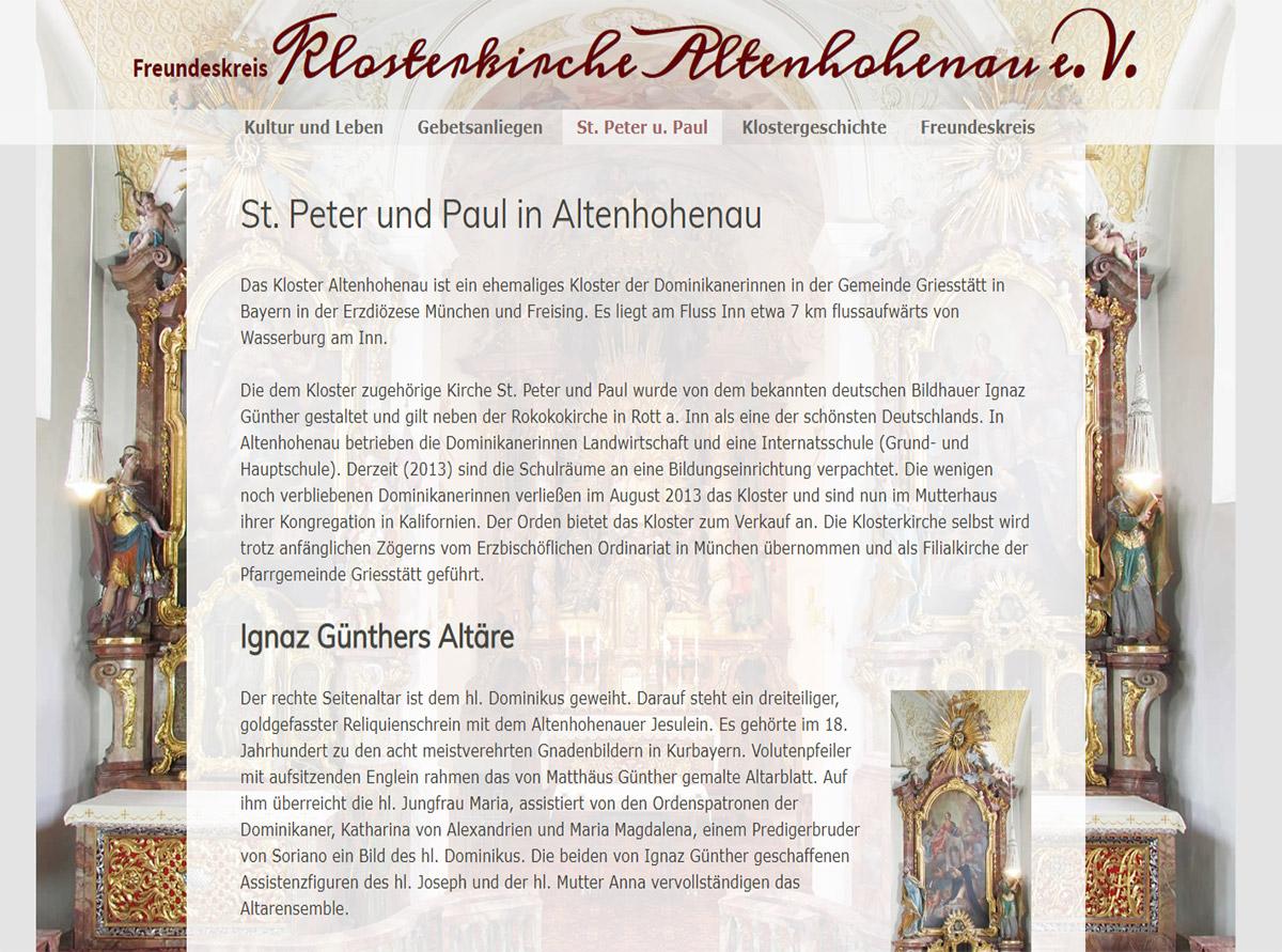 Referenz Website - Freundeskreis Klosterkirche  Altenhohenau e.V.