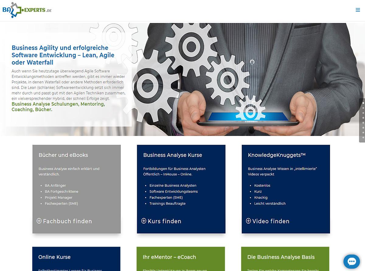 Referenz Webseite - Business Analysis Experts Deutschland